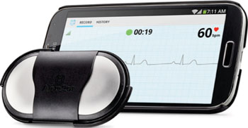 Image: The AliveCor mobile ECG recorder (Photo courtesy of AliveCor).