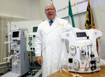 Image: Dr. Claudio Ronco and the CARPEDIEM dialysis machine (Photo courtesy of San Bortolo Hospital).