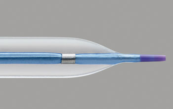 Image: The NC Euphora noncompliant balloon dilatation catheter with tapered tip (Photo courtesy Medtronic).