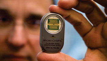 Image: A prototype contraceptive implant (Photo courtesy of MicroCHIPS).