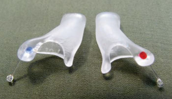 Image: The TMJ NextGeneration custom-made ear inserts (Photo courtesy of TMJ Health).