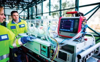 Image: The HAMILTON-T1 transport ventilator with neonatal option (Photo courtesy of Hamilton Medical).