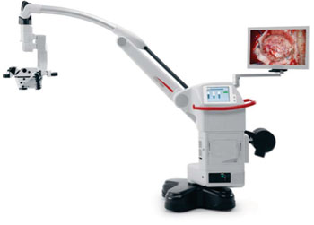 Image: The Leica M530 OH6 neurosurgical microscope (Photo courtesy of Leica Microsystems).