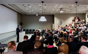 Image: Managing Director of GE Healthcare Finland, Didier Deltort, gives the opening speech (Photo courtesy of GE Healthcare).