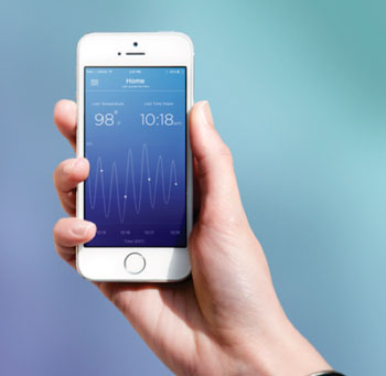 Image: The Bloom Ring fertility app monitoring core temperature (Photo courtesy of Prima-Temp).