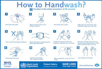 "Image: One of the NHS ""Wash Your Hands"" campaign posters (Photo courtesy of the NHS)."