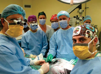 Image: The team of surgeons that performed the operation (Photo courtesy of Stellenbosch University).