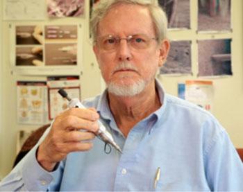 Image: Professor Emeritus Paul Hansma and the OsteoProbe (Photo courtesy of UCSB).