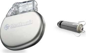 Image: The Micra TPS alongside a conventional pacemaker (Photo courtesy of Medtronic).