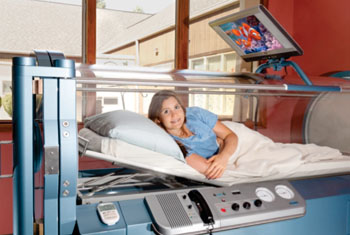 Image: A hyperbaric oxygen therapy chamber (Photo courtesy of Oxford Hyperbaric Medical Center).