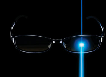 Image: Jins Screen lenses reduce transmission of blue light (Photo courtesy of Jins).