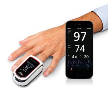 Image: The MightySat Rx fingertip wireless pulse oximeter (Photo courtesy of Masimo).