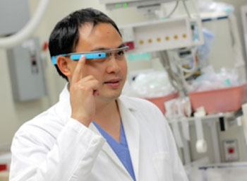 Image: Toxicology resident Dr. Peter Chai wearing Google Glass (Photo courtesy of UMASS).