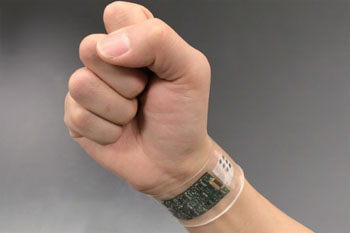 Image: The sweat sensor in a prototype flexible plastic wristband (Photo courtesy of Wei Gao et al., Nature).