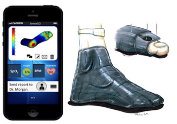 Image: Concept design of the pressure-sensing socks (Photo courtesy of HUJI).