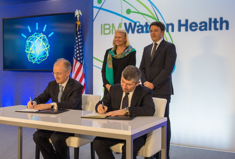 Image: IBM CEO Ginni Rometty and Italian Prime Minister Matteo Renzi witness the signing of the agreement for the planned Watson Health European Center of Excellence (Photo courtesy of IBM).