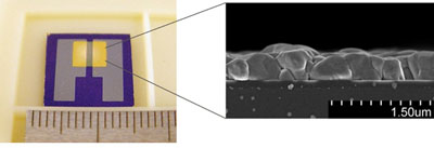 Image: The new sensor device (L) and a cross-sectional scanning electron microscope photo of the copper(I)-bromide film (Photo courtesy of Fujitsu Laboratories).